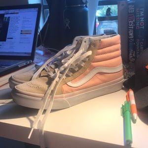 VANS, pink with tan toe. Barely worn.